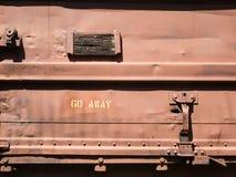 Strange message on an old rail car Stock Image