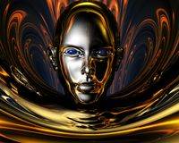 Strange metal 3D girl stock illustration