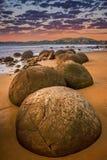 Strange Moeraki boulders Royalty Free Stock Photos