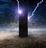 Strange Monolith on Lifeless Planet. High Resolution Strange Monolith on Lifeless Planet stock illustration