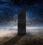 2001 Monolith. Strange Monolith on Lifeless Planet royalty free illustration