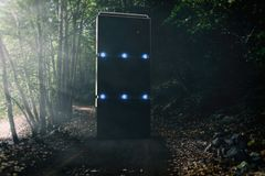 Strange Monolith In The Middle Of A Forest Road stock illustration