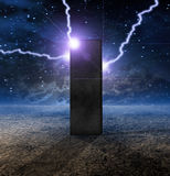 Strange Monolith on Planet. Strange Monolith on Lifeless Planet royalty free illustration