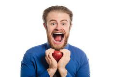 A strange office man with a big head offers an apple. transformed image. Royalty Free Stock Photo
