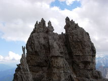 Strange peaks. In the ovest peak of Lavaredo - dolomites Royalty Free Stock Photo