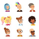 Strange people characters set, funny faces with different features and hairstyles vector illustrations. Isolated on a white background Royalty Free Stock Photo