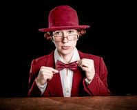 Strange person in a suit and bowler Royalty Free Stock Image