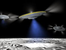 Strange planet. Three UFO flying over strange planet surface Royalty Free Stock Images