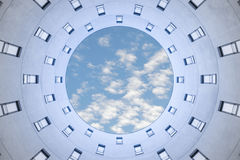 Strange pov to unusual modern office hive building architecture Royalty Free Stock Photos