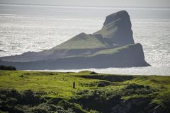 The amazing Worm`s Head at Gower, South Wales, Britain stock image