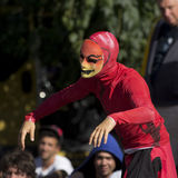 Strange red suit for an urban dancer. Stock Photos
