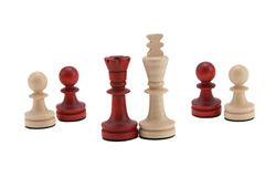 Strange relationship. White King and black Queen with the pawns Stock Photo