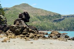 Strange rock formations on the Esplanade beach of Cape Hillsboro. Ugh National Park in Queensland, Australia Royalty Free Stock Photography