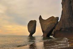 Strange rocks coast. Stock Photos
