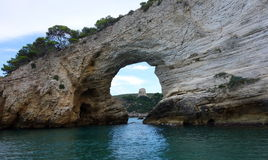 Strange rocks formation near Vieste, in Italy. Vieste, Gargano peninsula, Italy. strange rock formations in a coast full of caves royalty free stock photos