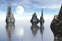 Strange seascape rock moon scene. 3D render of a fictional seascape with strange spiky rock and fantasy big moon and blue sky vector illustration