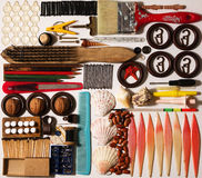 A strange set of items. An unusual set of different objects isolated Stock Photography