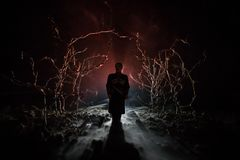 strange silhouette in a dark spooky forest at night, mystical landscape surreal lights with creepy man. Toned stock photo