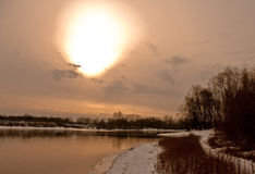 Strange sun. River in central Russia. Autumn Royalty Free Stock Photography