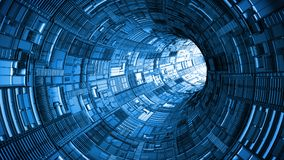 Abstract technology tunnel with bright light at the end stock illustration