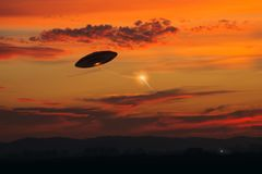 Strange UFO Activity Stock Photo