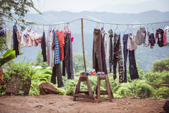 Strange underwear. Drying in the fresh air Stock Photos