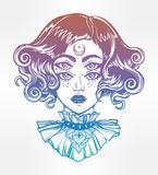 Strange witch girl head portrait with four eyes. Royalty Free Stock Photo