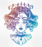 Strange witch girl head portrait with four eyes. Stock Images