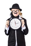 Woman in disguise holding clock Stock Image
