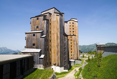 Strange wooden  buildings in  Avoriaz , France Royalty Free Stock Image