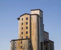 Strange wooden  buildings in  Avoriaz , France Stock Photos