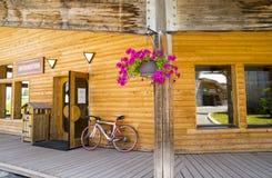 Strange wooden  buildings in  Avoriaz , France Stock Images
