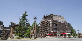 Strange wooden  buildings in  Avoriaz , France Stock Photography