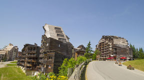 Strange wooden  buildings in  Avoriaz , France Royalty Free Stock Photos