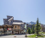 Strange wooden  buildings in  Avoriaz , France Royalty Free Stock Images