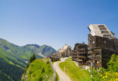 Strange wooden  buildings in  Avoriaz , France Royalty Free Stock Photography