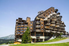 Strange wooden  buildings in  Avoriaz , France Stock Photo