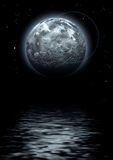 Strange world. Moon and stars reflecting in dark water, digitally created image Stock Photos