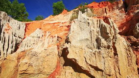 Strange Yellow Orange Rock Formations Pitted by Wind stock video