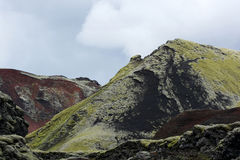 Strangelly colored mountains at Lakagigar area, Iceland Stock Photos