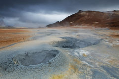 Strangelly colored mud formations at Hverarond area, Iceland Royalty Free Stock Photo