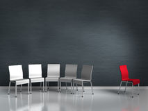 Stranger. Conceptual render showng xenophobia symbolized by chairs Stock Images