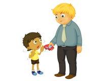 Stranger danger. Child refusing gift from stranger vector illustration