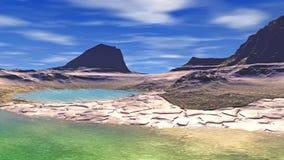 Stranger planet. Rocks and lake. Animation. 4К stock video footage