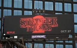 Stranger Things 2 Billboard Sign Stock Images