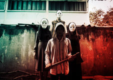 Strangers. Group of young people in halloween concept and book cover ideas Stock Image