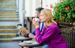 Strangers meet become acquaintances. Meeting people first date. Couple terrace drinking coffee. Casual meet acquaintance. Public place. Apps normal way to meet royalty free stock images