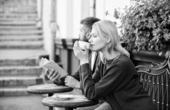 Strangers meet become acquaintances. Meeting people first date. Couple terrace drinking coffee. Casual meet acquaintance royalty free stock photography