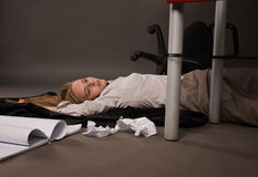 Strangled college girl on the floor Stock Photo