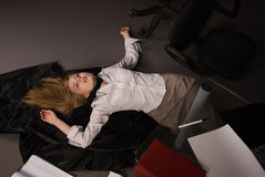 Strangled college girl on the floor Royalty Free Stock Photography
